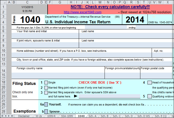 Excel Tax Forms Captaincicerosco