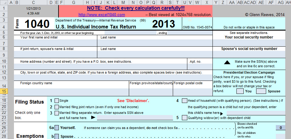 Spreadsheet-Based Form 1040 Available at No Cost for 2013 Tax Year ...