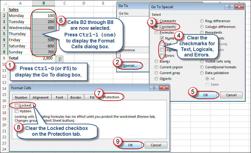 excel 2013 how to lock cells from editing