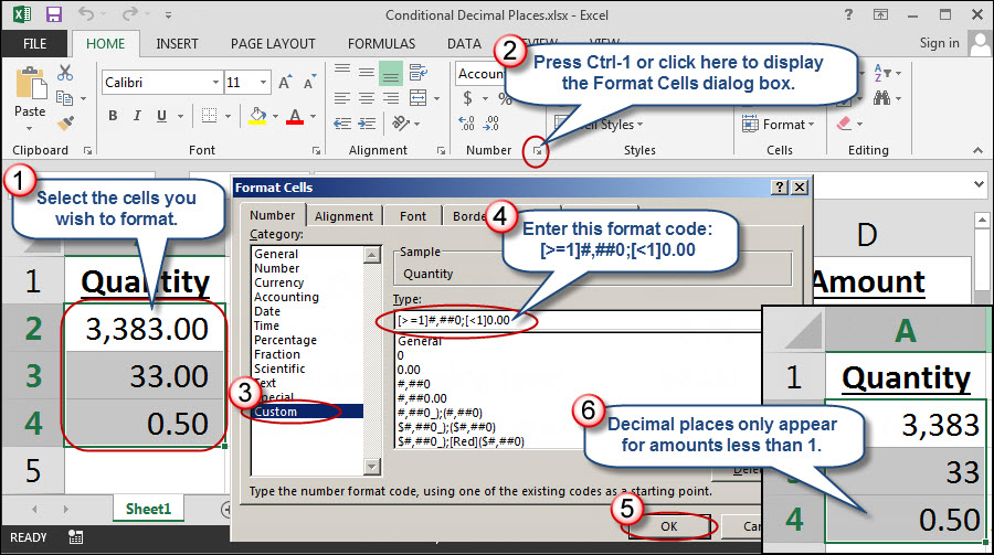 Conditionally Displaying Decimal Places in Excel: Part 1