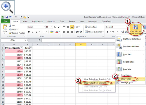 ... clear conditional formatting from a worksheet in Excel 2007 and later