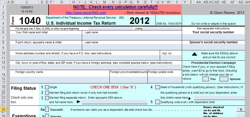 Free Spreadsheet Based Form 1040 Available For 2012 Tax Year