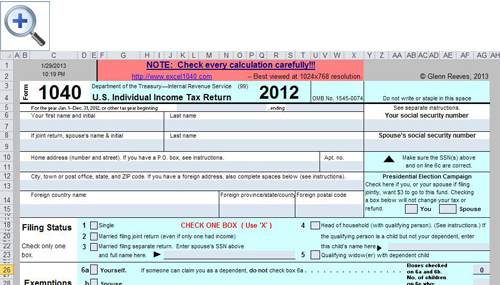 Free Spreadsheet-Based Form 1040 Available for 2012 Tax Year ...