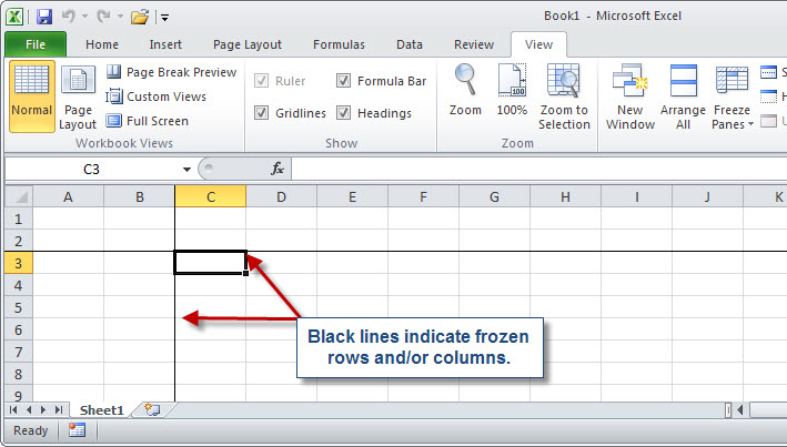 Microsoft excel taking the pain out of freezing panes accountingweb its a little simpler in excel 2003 choose window and then freeze panes or window and then unfreeze panes respectively ccuart Images