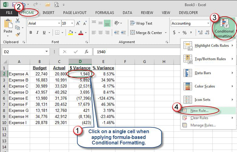 Microsoft Excel: Use Color to Identify Variances » Accounting ...
