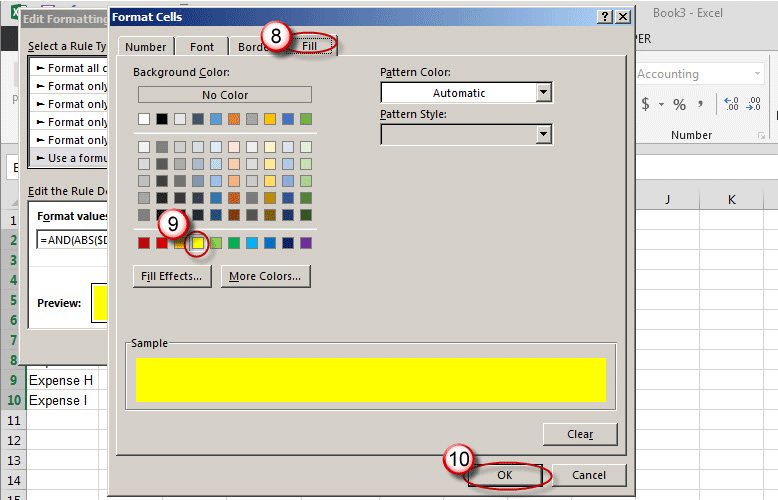 Microsoft Excel Use Color To Identify Variances