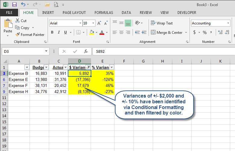 Microsoft Excel: Use Color to Identify Variances | AccountingWEB