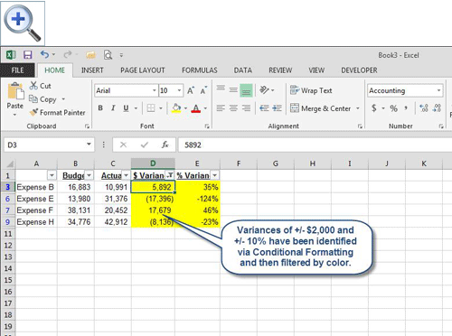 Microsoft Excel Use Color To Identify Variances Accountingweb