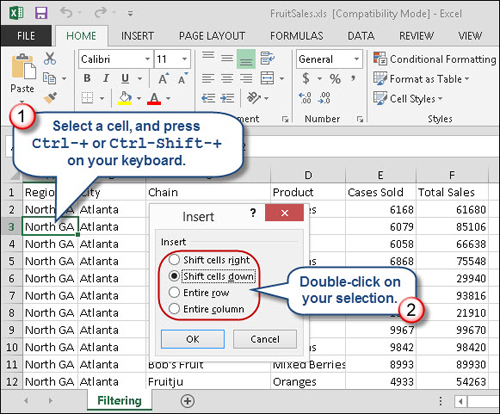 Quick tips for inserting excel rows and columns for Javascript table insertcell th