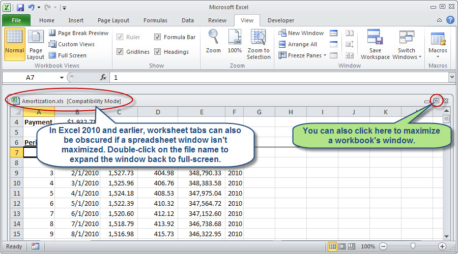 Figure 3: Excel windows sometimes get arranged such that workbook tabs ...