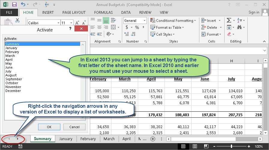 ... arrows in any version of Excel to display a list of worksheets