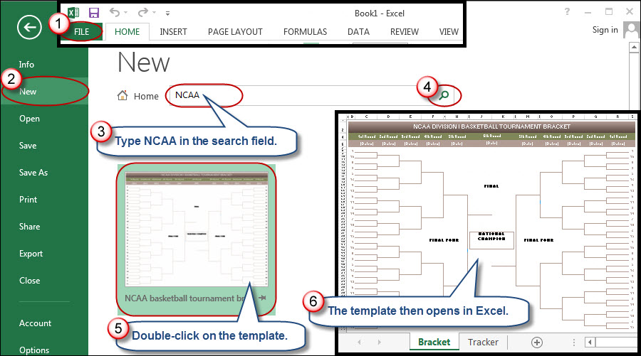 Figure 1: A free NCAA Final Four bracket template resides within ...