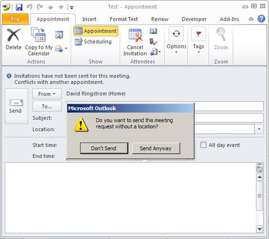 Microsoft Outlook: Disabling the Send without a Location Prompt