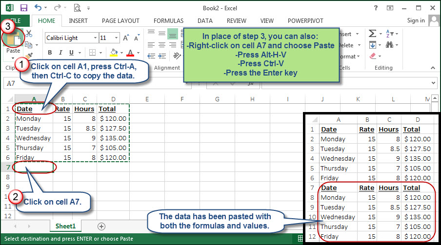 how to copy paste and keep word formatting in excel