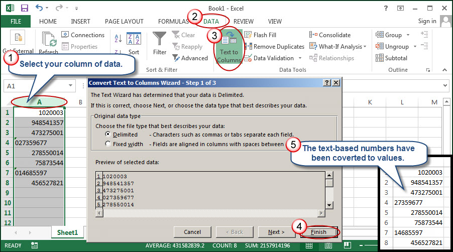 how to get excel to add a column of numbers