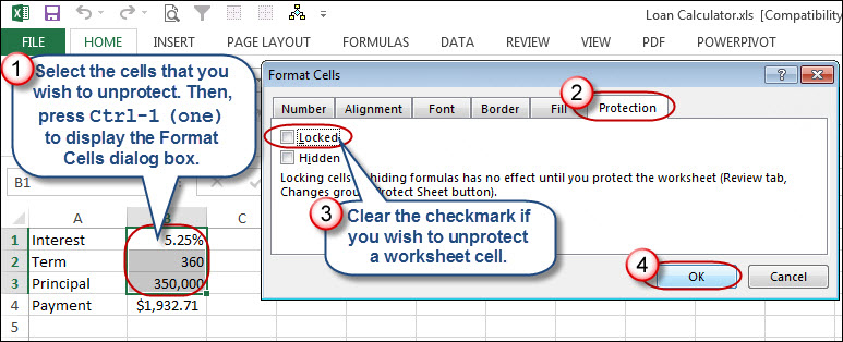 figure 1 the format cells dialog box allows you to lock and unlock cells