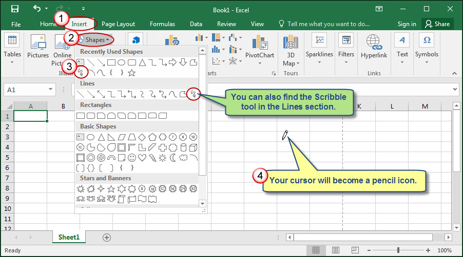 Drawing Lines Excel Spreadsheet : How to enable freehand electronic signatures in excel