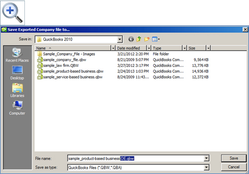 how to save a quickbooks file to a flash drive