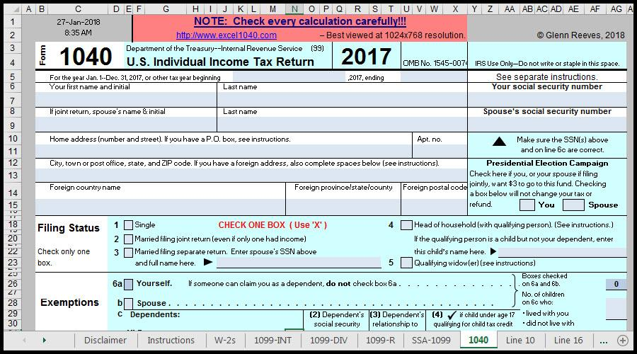 How To Use Excel File Form 1040 And Related Schedules For 2017. Worksheet. Ine Tax Worksheet Excel At Clickcart.co