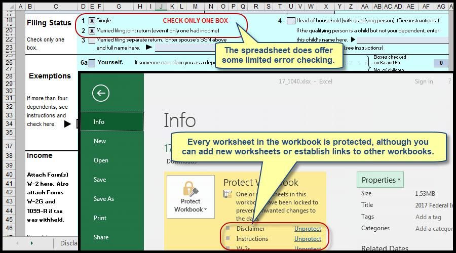 How To Use Excel To File Form 1040 And Related Schedules For 2017