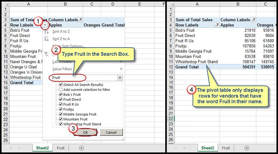 Filtering Grand Total Amounts Within Excel Pivot Tables