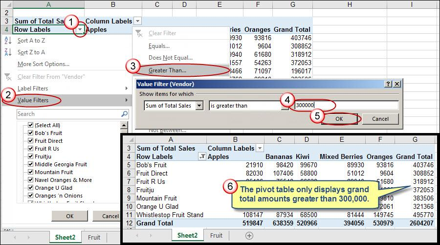 how to add a filter in pivot table