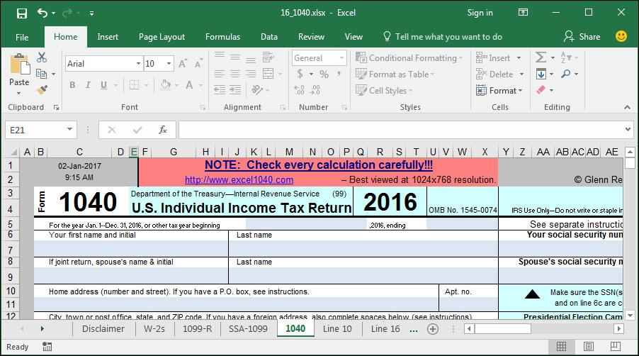 How to Use Excel to File Form 1040 and Related Schedules for 2016 – Qualified Dividends and Capital Gain Tax Worksheet Fillable