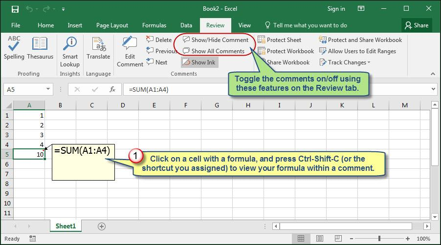 Displaying Excel Formulas Within Worksheet Cell Comments ...