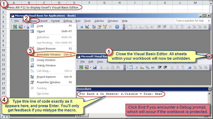 Unhiding All Worksheets Within an Excel Workbook – Unhide Worksheet