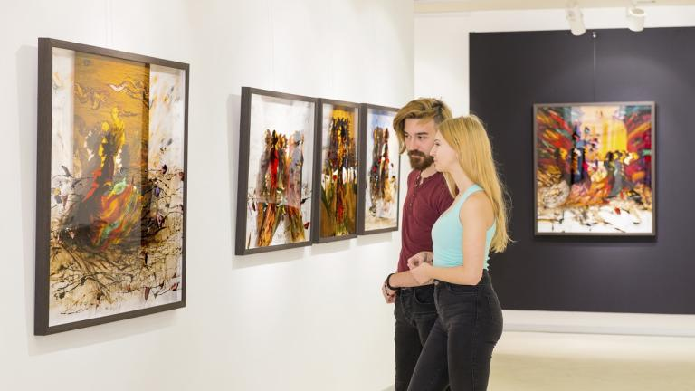 couple viewing artwork