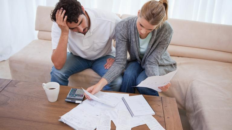 couple look over finances