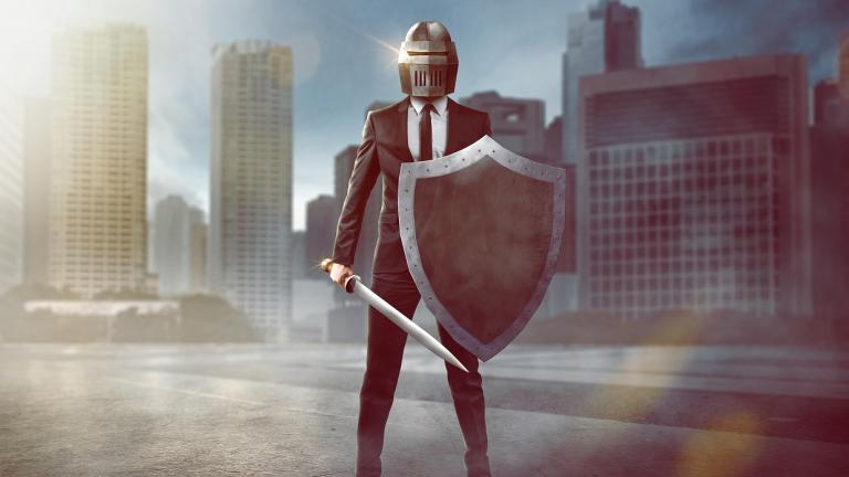 businessman in armor