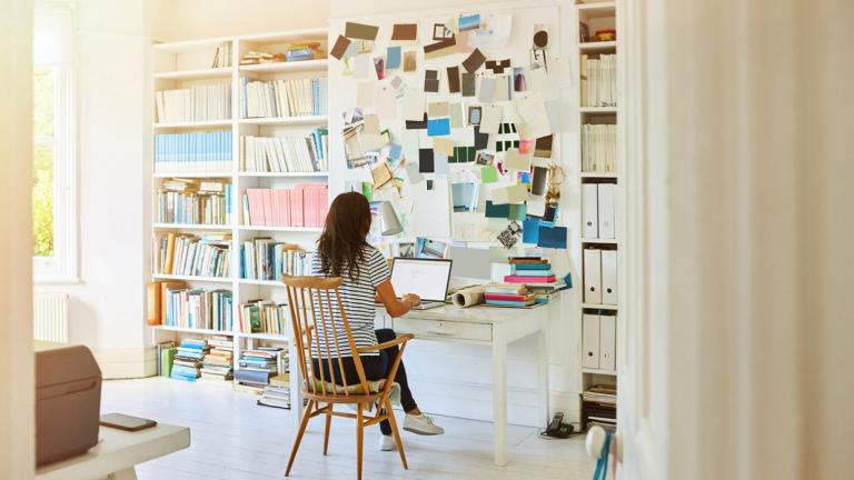 woman working in a home office