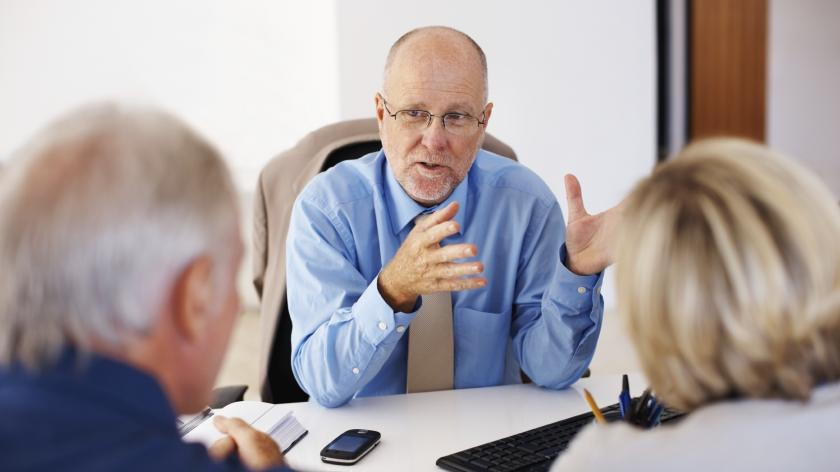 Advisor with clients