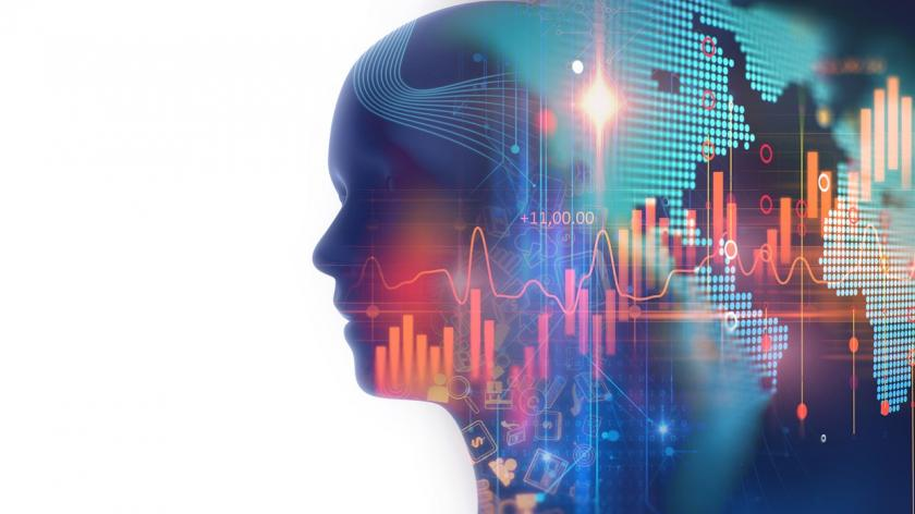 Double exposure image of financial graph and virtual human