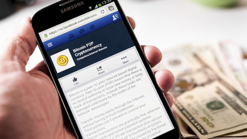 bitcoin on a mobile device and money