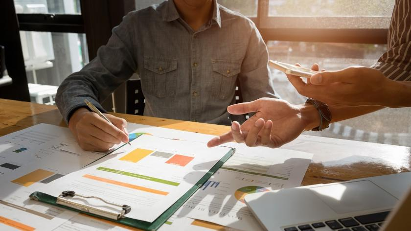 Business people hands at working with financial plan
