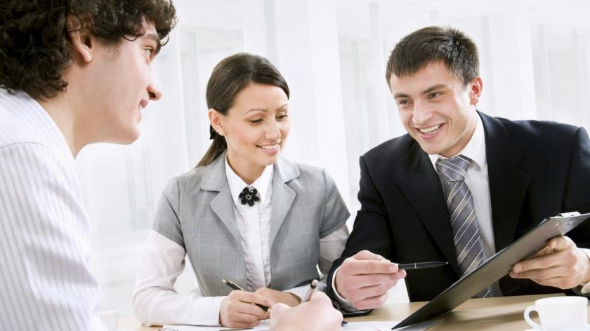 man working with clients