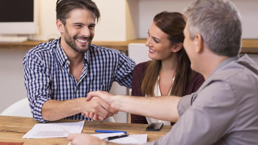 shaking hands with clients