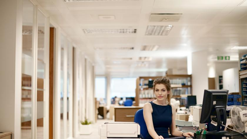 Lady working at desk