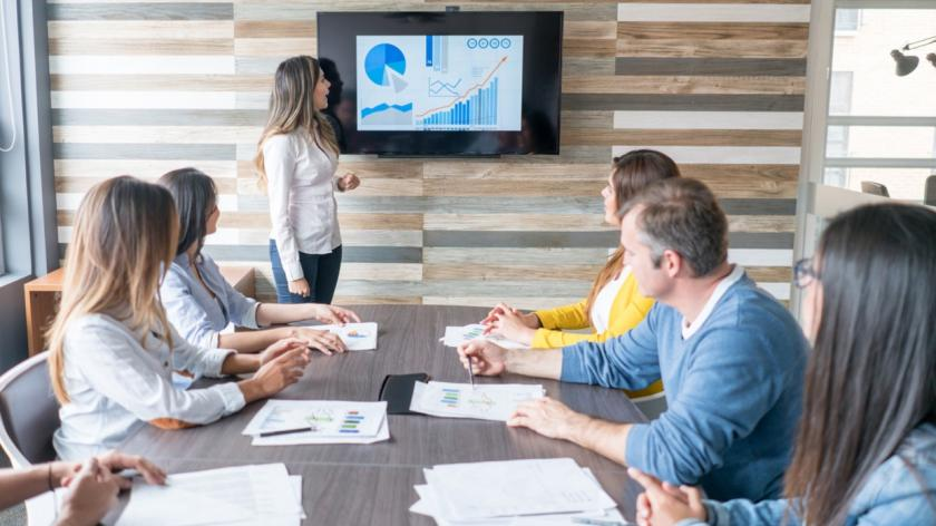 people in a meeting looking at growth chart