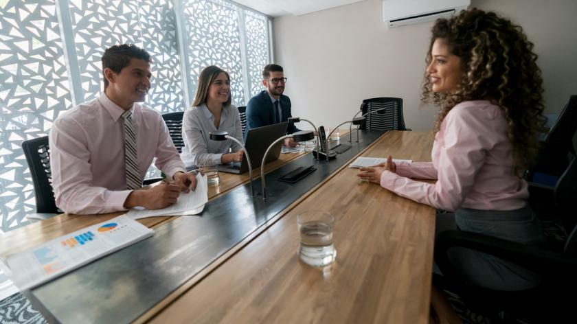 woman in group job interview