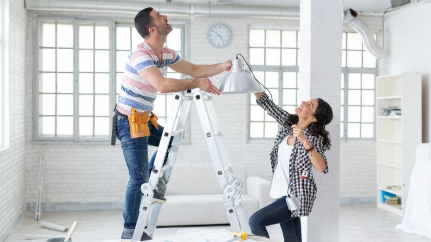 People making home improvements
