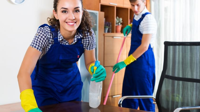 male and female house cleaners