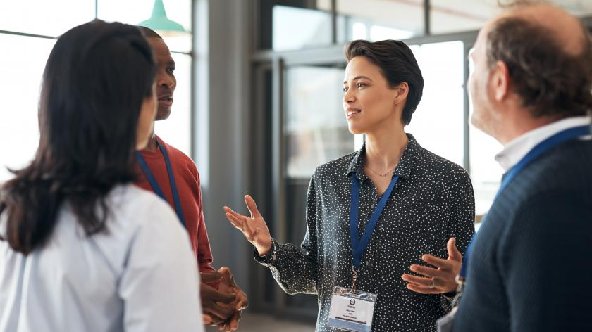 Businesspeople networking at a conference