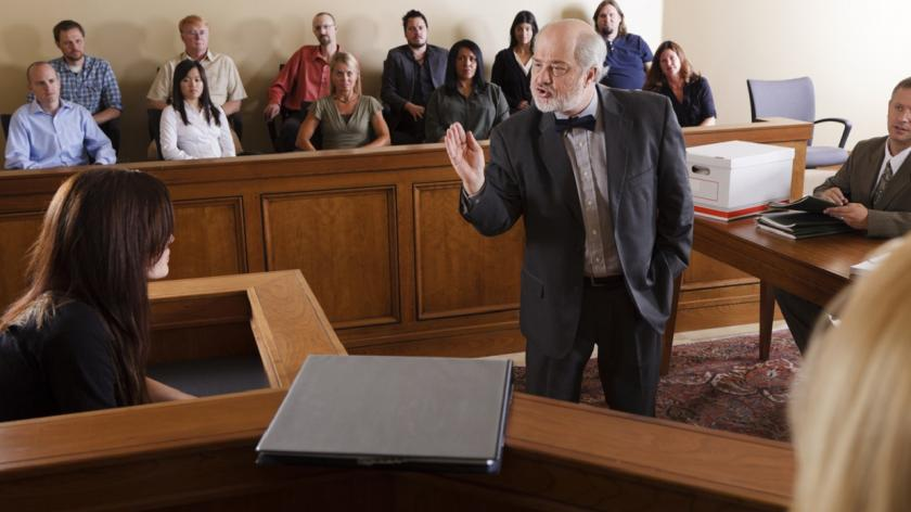 lawyer arguing in court