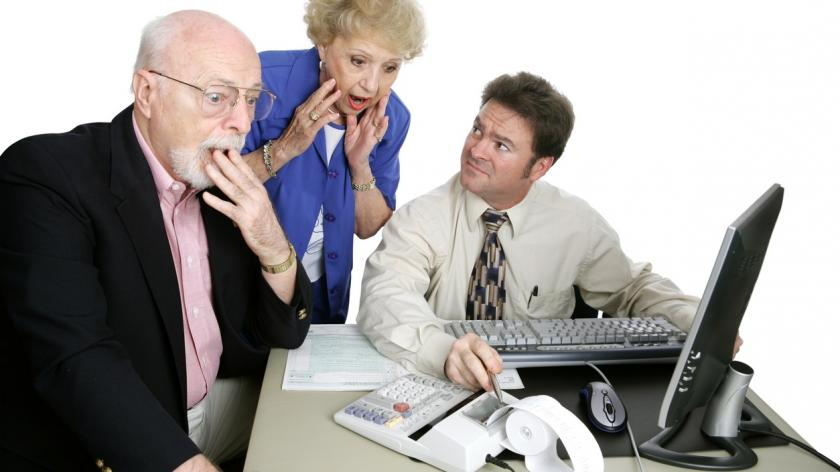 concerned couple with an accountant