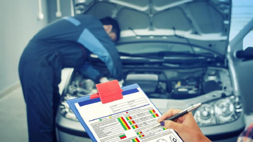 man looking at car engine, another holding a vehicle checklist