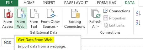excel web query data
