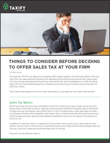Things To Consider Before Offering Sales Tax Services